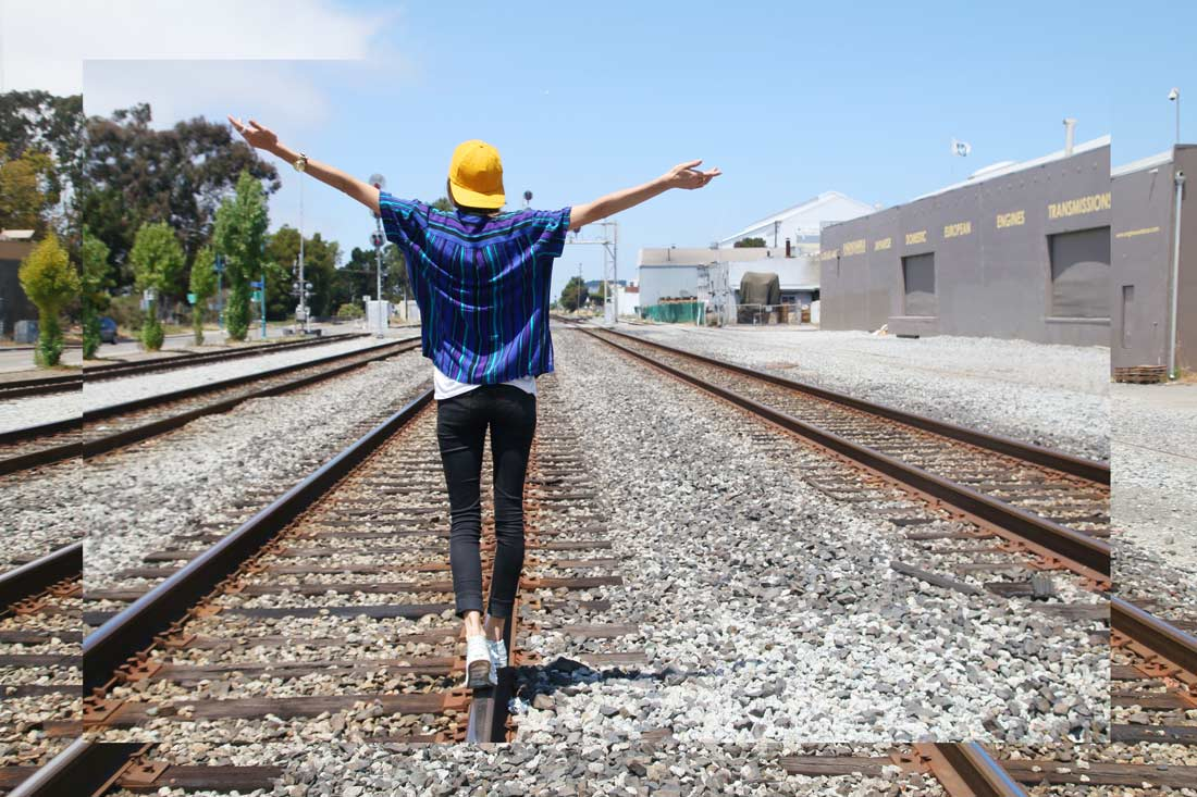 chasing kendall on train tracks
